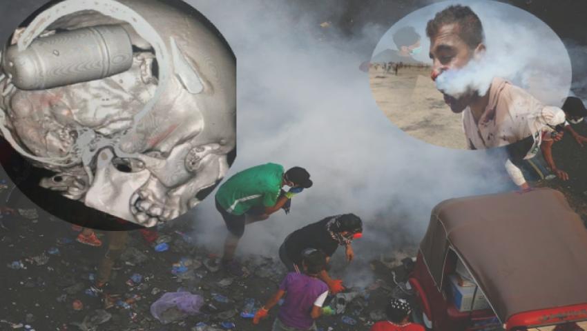 فيديو| قنابل الجماجم تمزق رءوس المتظاهرين بالعراق