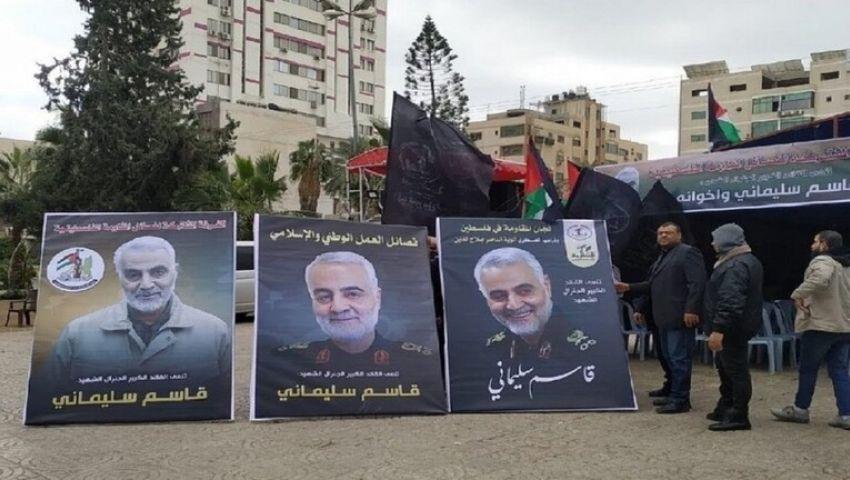بلافتة عملاقة لقاسم سليمانى غزة تثير غضب إسرائيل