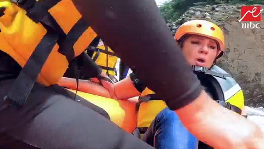 بالفيديو| انهيار ندى بسيوني في برنامج «رامز في الشلال»