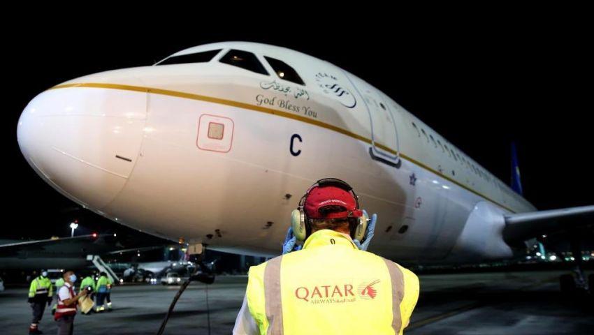 فيديو وصور| منذ 2017..  أول طائرة سعودية تهبط في الدوحة