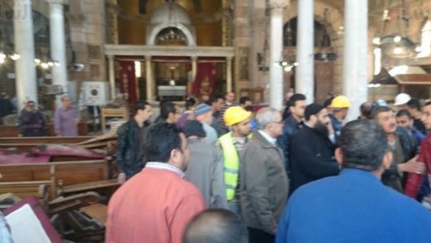 شاهد.. اللقطات الأولى لحادث انفجار كنيسة مارجرجس بطنطا